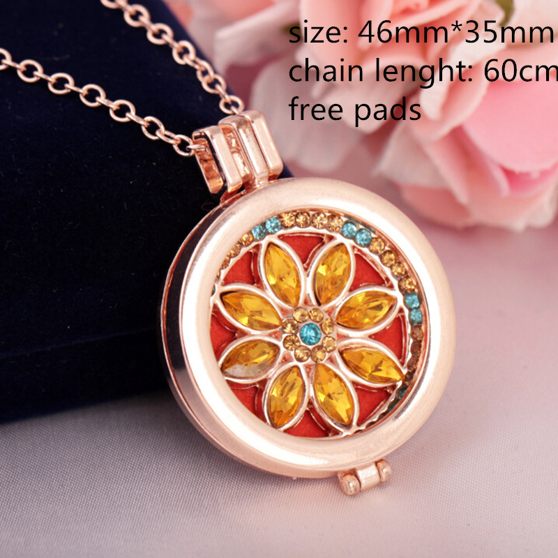 Wholesale-Aromatherapy-Necklaces-Yellow-Rhinestone-Essential-Oil-Diffuser-Necklace-Perfume-Locket-Pendant-Necklaces-for-Women
