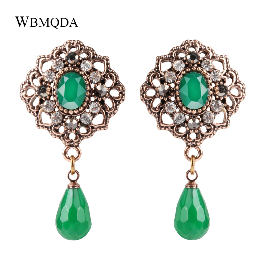 Ethnic Natural Stone Drop Earrings For Women Antique Gold Color Green Crystal Earrings Bohemian Jewelry Gift