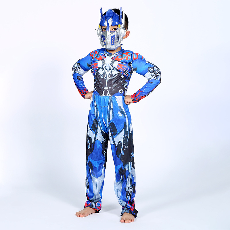 Image 4 - Optimus Prime Bumble Muscle Jumpsuits+ Mask Halloween Costume for Kids Boys Girl The Transformers Movies Carnival Disfraz Mujer