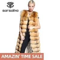 SARSALLYA 90CM and 120cm long real natural fox fur vest