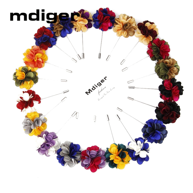 Mdiger Handmade Brooches Baquent Cloth Flower Lapel Pins Women Jewelry Mixed Color Mens Floral Brooch Corsage 10 PCS/LOT