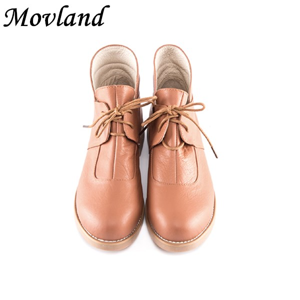 Movland-Free shipping new Autumn and winter England style genuine leather flat female boots classic simplicity retro short boots autumn and winter new leather shoes with leather boots and boots with flat boots british classic classic hot wild casual shoes