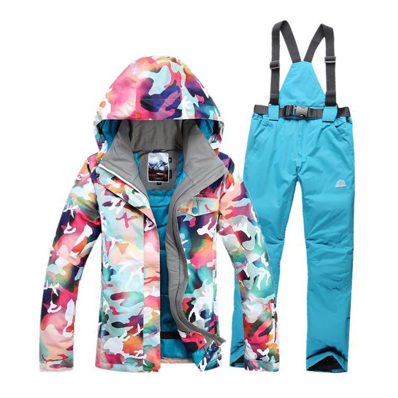 Prix pour 2017 Nouvelles Femmes Hiver Chaud Coton coupe-vent Imperméable Respirant Vêtements de Planche à neige Camouflage Pantalon Ski