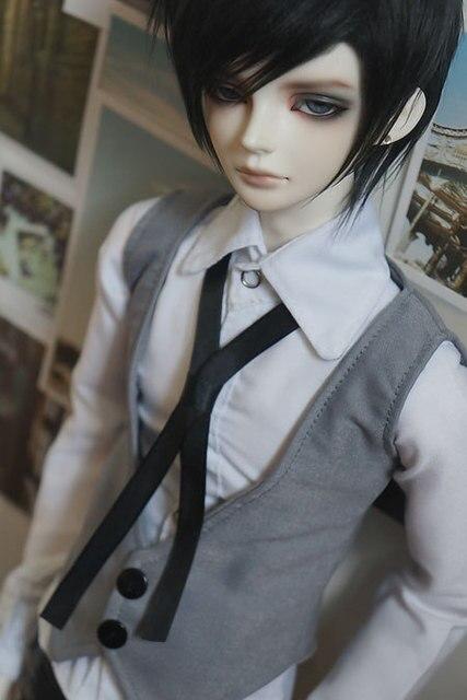 1/3 1/4 BJD clothes vest+slim shirt +ribbon
