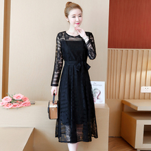 Korean Chic Black Lace Dress Womem Solid Color Lace-up Long Sleeve Plus Size Midi Elegant Autumn L-5XL Red Sexy Robe Femme