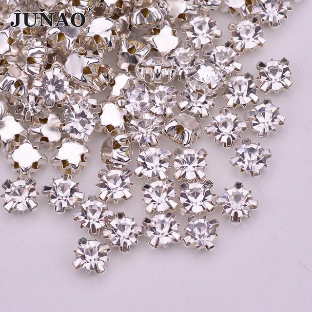 3bdc3318d JUNAO SS18 Sewing Clear Crystal Glass Rhinestones Sew On Flatback Claw  Strass Crystal Stones For Wedding