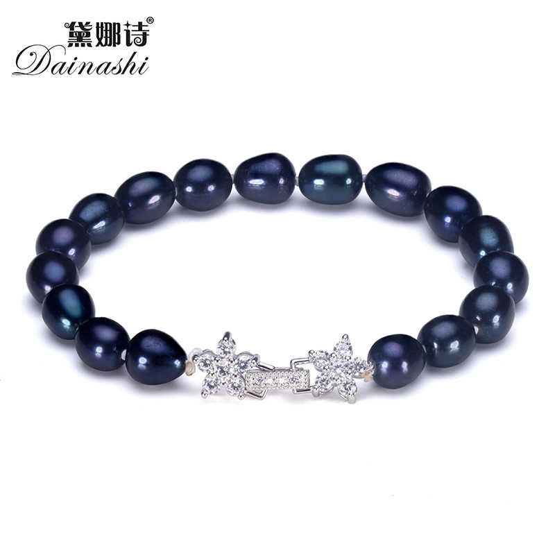 Dainashi Elegant Black Pearl Bracelet,High Quality Natural Freshwater Pearl Bracelet for Women Fine Silver Jewelry Gift Box