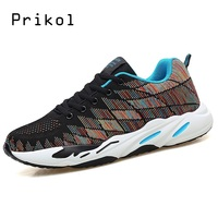 Prikol Brand Men Sports Shoes Trendy Running Lightweight Sports Fly Knit Running Sneakers High Quality Jogging