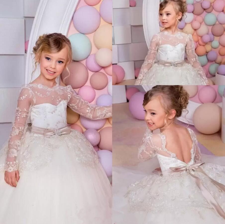 Cute Princess Flower Girls Dresses For Weddings Sheer Long Sleeves Lace Layers Girls Pageant Dresses Toddlers Birthday Gown flower girl dresses for weddings cap sleeves sheer neck appliques lace pageant dress for girls long beads girls dresses