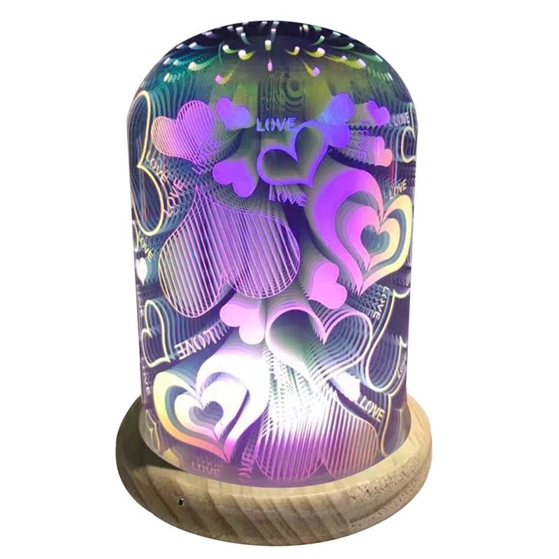 LED Night Light 3D Glass Lampshade Magic Lamp Creative Night Light Bedroom Bedside Lamp LED Home Atmosphere Gift (Heart) novelty glass magic plasma ball light 3