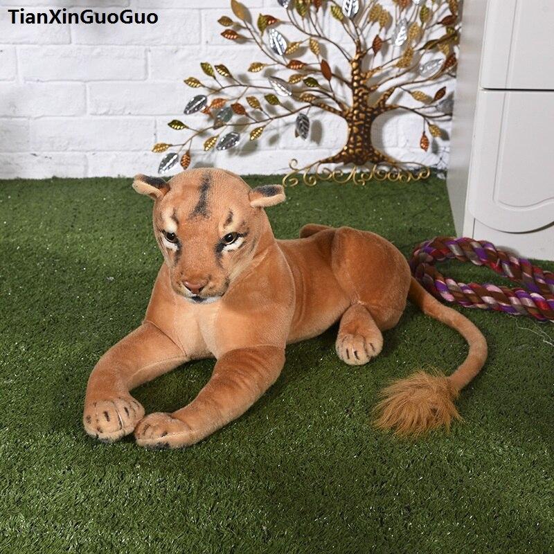 Oyuncaklar ve Hobi Ürünleri'ten Doldurulmuş ve Peluş Hayvanlar'de Büyük 75 cm simülasyon dişi aslan peluş oyuncak kadın aslan bebek, atmak yastık doğum günü hediyesi h2233'da  Grup 1