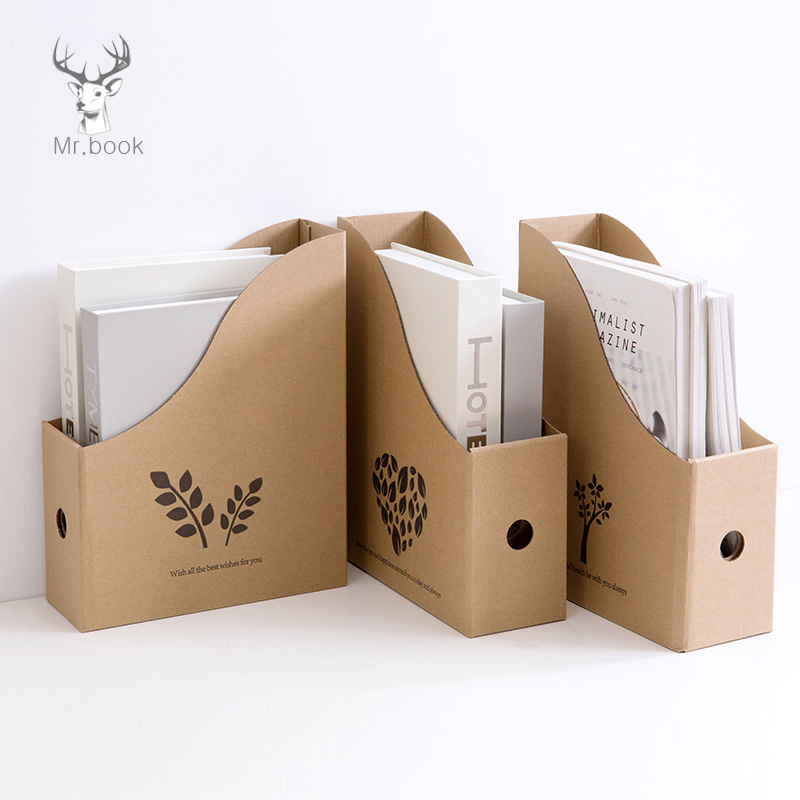 Foldable File Folder Desk Organizer Corrugated Paper Storage Boxes Book Pen Holder Magazine Storage School Office Supplies