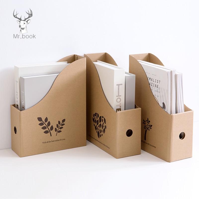 Foldable File Folder Desk Organizer Corrugated Paper Storage Boxes Book Pen Holder Magazine Storage School Office Supplies