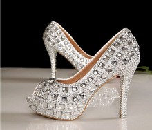 Silver Bridal Dress Shoes Peep Toe Crystal High Heel Wedding Shoes  Woman  Popular Rhinestone Wedding Shoes