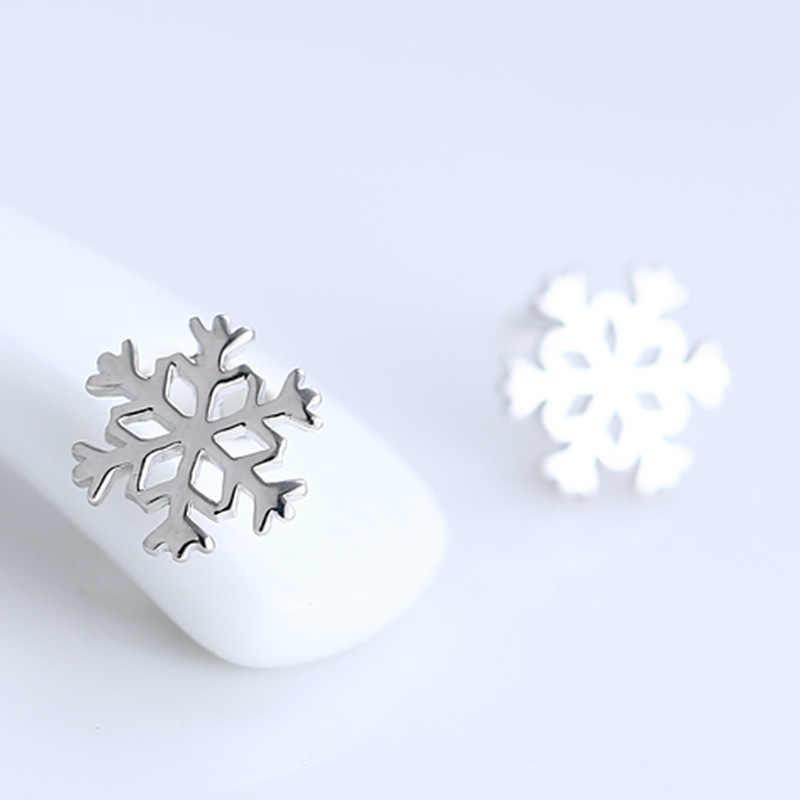 Новые Элегантные ювелирные изделия Изысканный милый снежинка серебряные серьги 925 цвет девушка день рождения Рождество Новый год ювелирные изделия
