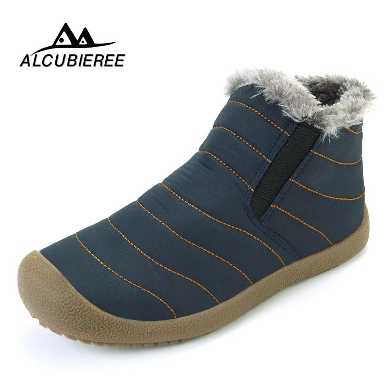 2018 ALCUBIEREE Winter Casual Snow Boots Men Waterproof Ankle Boots Flat Slip-on Resistant Fashion Man Winter Shoes Big Size таро пиратов карибского моря руководство и карты