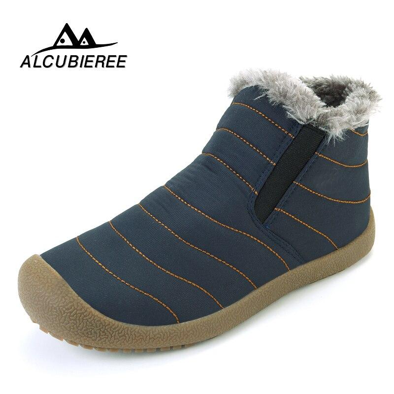 ALCUBIEREE/2018 повседневные зимние ботинки, мужские непромокаемые ботильоны на плоской подошве, нескользящая модная мужская зимняя обувь, больши...