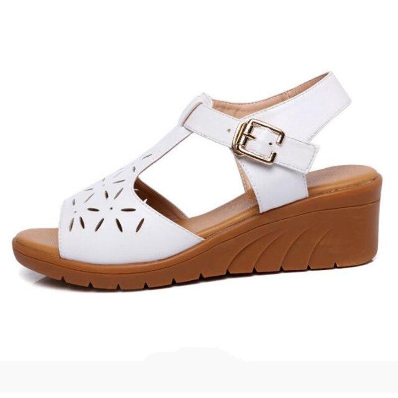 Sandales De Femmes Chaussures En Mode Véritable blanc Cales Creux Nouveau Cuir Doux Occasionnels D'été 2018 Antidérapantes Noir Femme qBRHpq