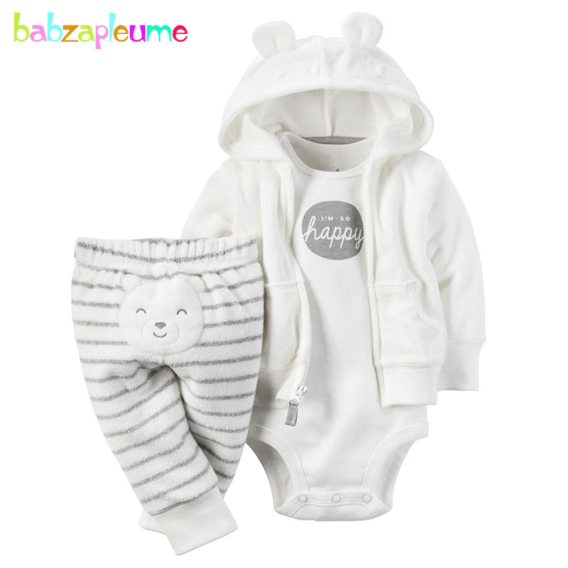 3PCS/6-24Months/Spring Autumn Newborn Baby Boys Girls Clothes Soft Velvety Cute Jacket+Pants+Bodysuit Infant Clothing Set BC1102