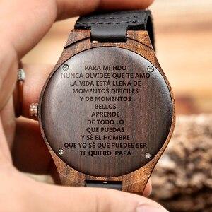 Image 5 - BOBO BIRD العلامة التجارية الفاخرة خشب الأبنوس ساعة خشب هدية مخصصة الكوارتز حركة ساعة اليد لابن أمي أبي صديقها محفورة