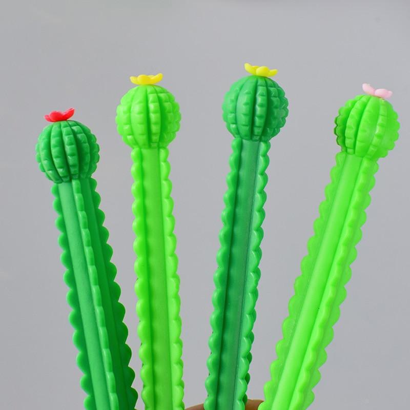 Гелевая ручка с кактусами 0,5 мм милые Пластик черными чернилами Kawaii обычные ручки для письма детей подарок для девочек школьные принадлежно...