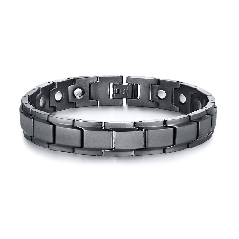 Gents Black Magnetic Bracelet Neodymium Bio Magnet Energy Therapy Bracelets Stainless Steel Brackelts Brazalet Male Jewellery