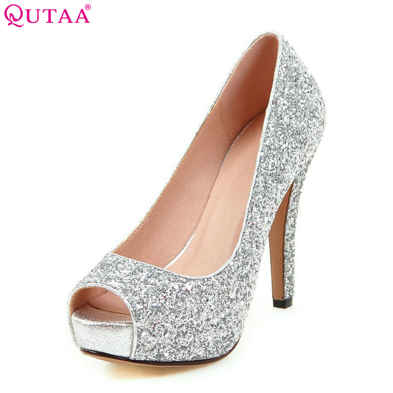 QUTAA 2017 Silver Women Pumps Thin High Heel Peep Toe Slip On Platform Sexy Summer PU leather Ladies Wedding Shoes Size 34-43 стоимость