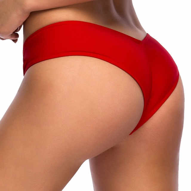 8746b0e5d5fec S - 3XL plus large size swim brief V shape swimwear women brazilian bikini  bottom scrunch