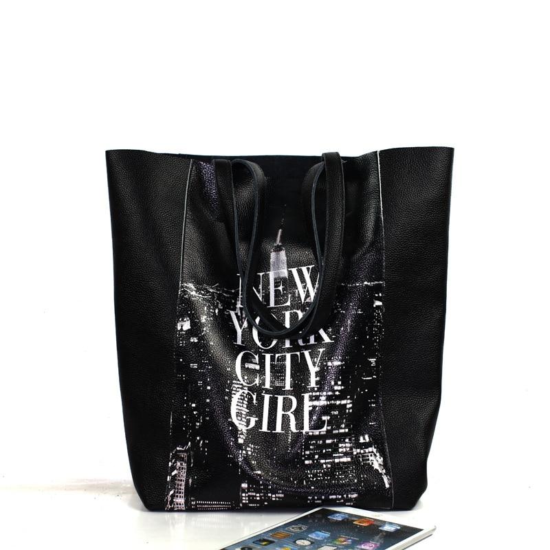 ФОТО Women's genuine leather soft letter printing handbag fashion modern girl big capacity commute shoulder bag black composite bags