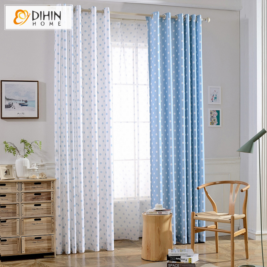 DIHIN HOME Printed Dot Pattern Blue/White Blackout Curtain Window Screening  Natural Curtains For Bedroom