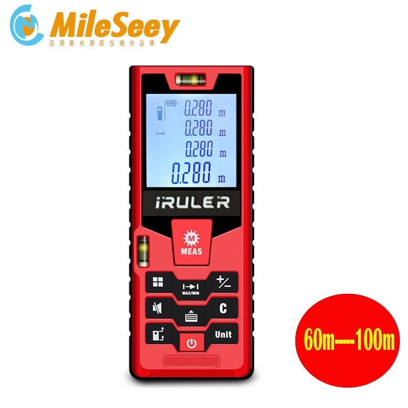 Medidor de distância a laser a pilhas do medidor de distância do laser de mileseey 100m digital