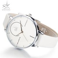 Shengke Brand Women Luxury Watches Female White Leather Wristwatch Mixmatch Dress Quartz Clock Ultra Thin Relogio
