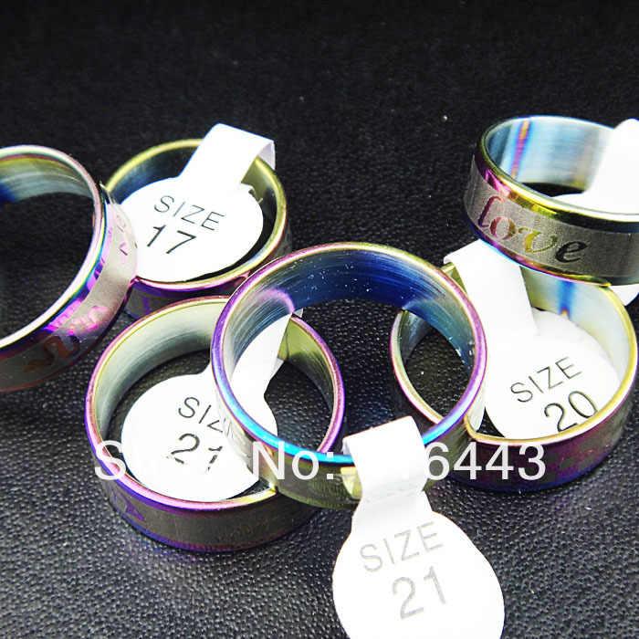 ขายร้อน100ชิ้นสแตนเลสเสน่ห์ผสมรุ้งสไตล์ผู้หญิงบุรุษแหวนเครื่องประดับแฟชั่นขายส่งจำนวนมากA-062