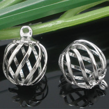 50Pcs New Metal Hollow Bead Cage Breloque Charms Pendants DIY Jewelry Making 14x10mm, Gold Plated/Silver Plated/Silver Tone цена 2017