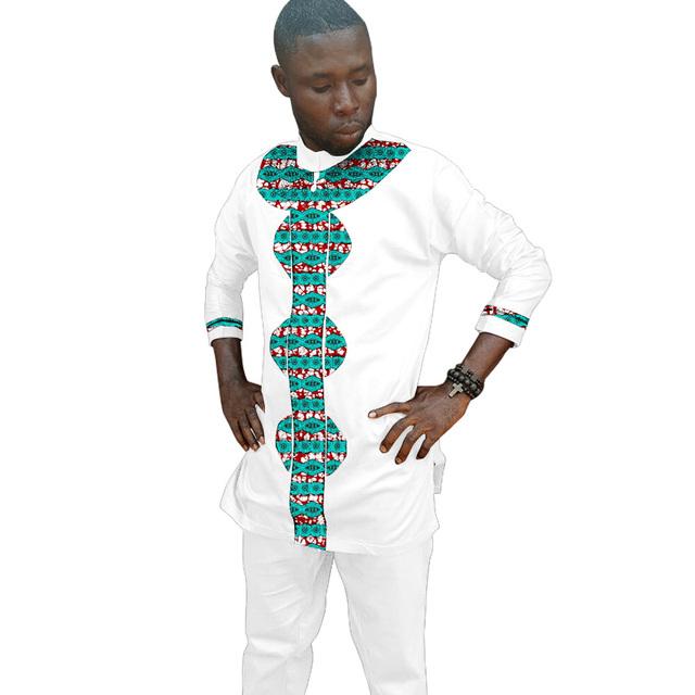 Orden privado moda hombre collar del soporte tops esmoquin camisa de impresión y blanco del remiendo del algodón africano boda/fiesta ropa dashiki