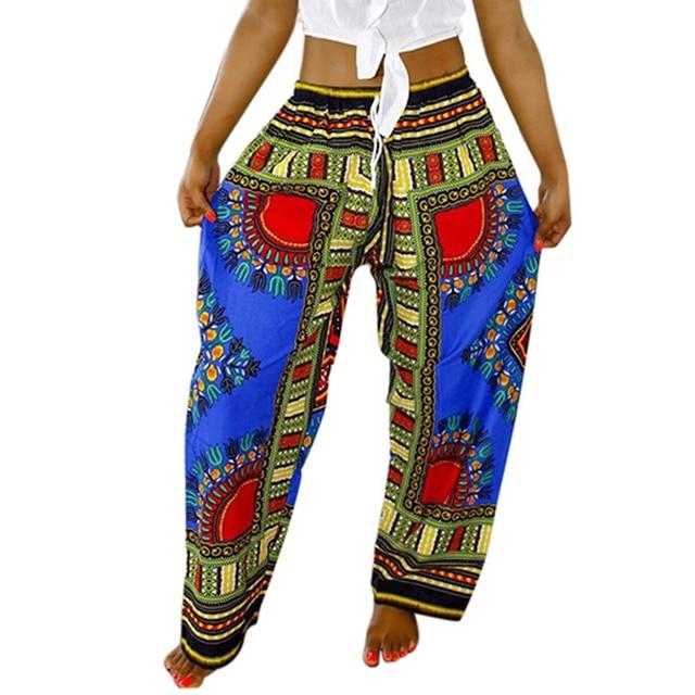 Women African Pants Dashiki Bohemia Print Loose Trousers Vintage Ankara Pants With Pocket Summer Casual Plus Size Wide Leg Pants