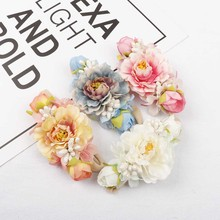 AHB Hair Accessories Nylon Headband for Baby Girls Fake Flowers Band Handmade Floral Hairband Elastic Headwraps Headwear