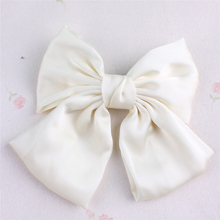 New Fashion Women Girls Big Bowknot Hair Barrettes Soft Satin Material Elegant Quality Clips Solid Color Vintage Style