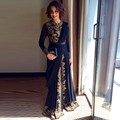 Elegant Black Fancy Abaya Muslim Evening Dress 2016 Dubai Moroccan Islamic Embroidery Long Sleeve Arabic Evening Party Dress