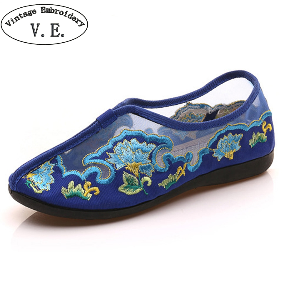 Women Shoes Flats Summer Embroidery Shoes Gauze Floral Casual Soft Canvas Dance Flat For Woman Ballet Zapatos Mujer chinese women flats shoes flowers casual embroidery soft sole cloth dance ballet flat shoes woman breathable zapatos mujer