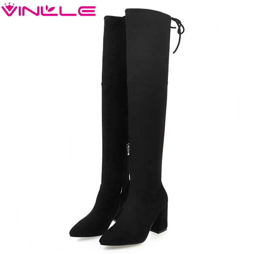 VINLLE 2018 Women Boots Over The Knee Boots Hoof High Heel Pointed Toe Flock Elastic band Ladies Motorcycle Shoes Size 34-43 new 2017 spring summer women shoes pointed toe high quality brand fashion womens flats ladies plus size 41 sweet flock t179