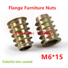100pcs/lot M6*15 Furniture Nut Zinc Alloy Steel Colorful Plated Flanged Hex Drive Internal Thread Insert Wood Nuts
