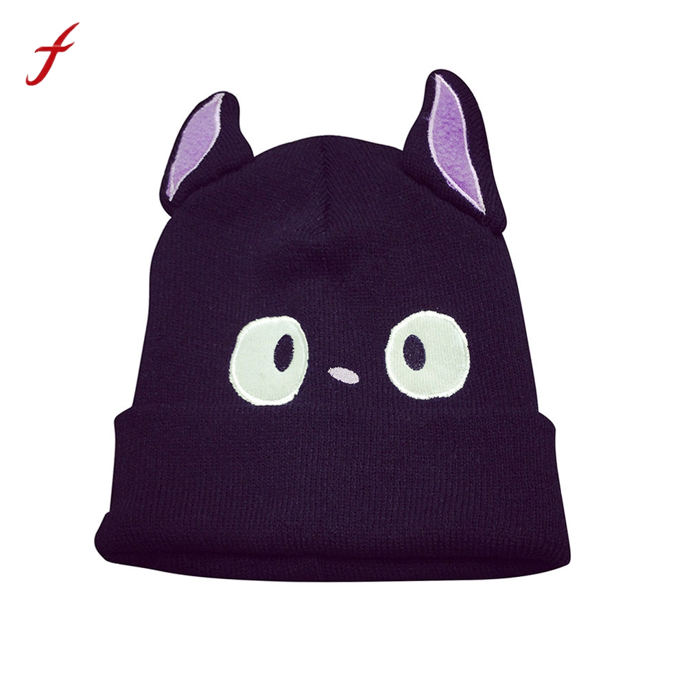 Women Girl Cat Knitting Beanie Hip Hop Cap Baggy Keep Warm Winter Ski Hat Style Classic Fashion Trend Leisure Hats For Women hot winter beanie knit crochet ski hat plicate baggy oversized slouch unisex cap