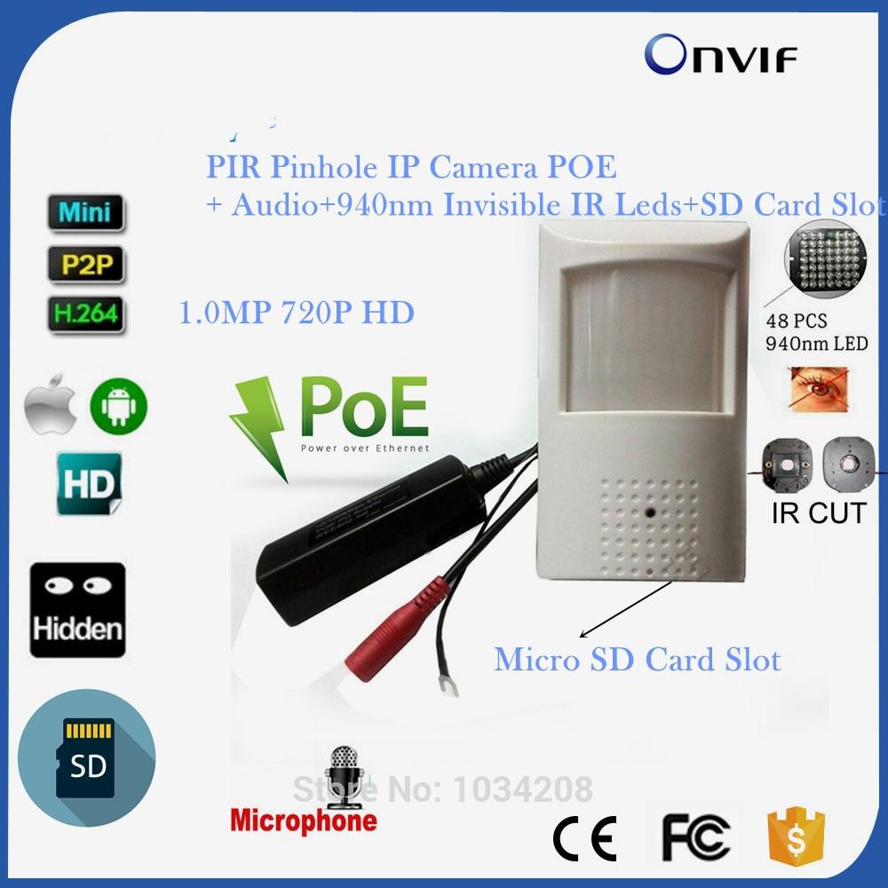 720 P POE Мини IP Камера Hd Ночное видение 940nm детектор движения Pir Kamera Pir Стиль Ip Камера слот для карты SD и микрофон Camhi APP