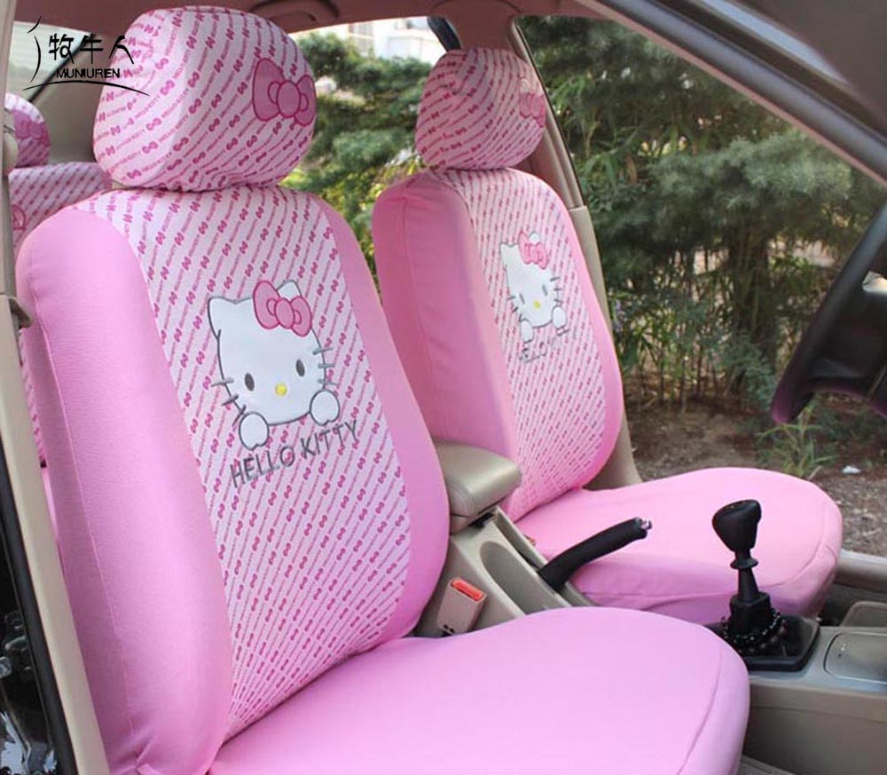 Muniuren cute pink hello kitty car front seat covers cartoon universal seat decoration protector for women