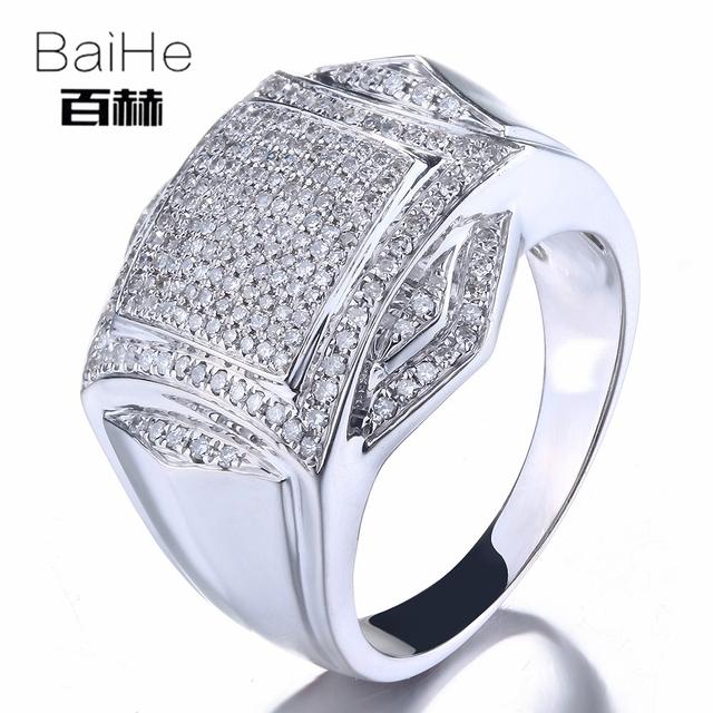 BAIHE Sterling Silver 925 0.7CT Certified H/I Round CUT 100% Genuine Natural Diamonds Wedding Men Classic Fine Jewelry Ring