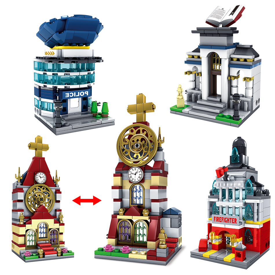 2in1 City Library Police Station Cathedral Church Model Building Blocks enlighten toys for children Compatible All Brand Street