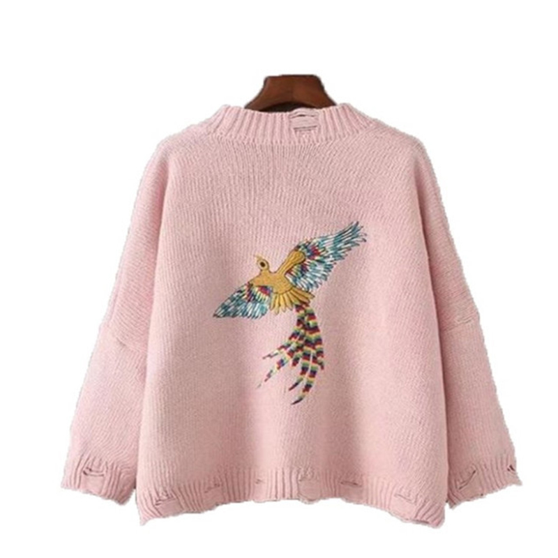 2018 New Fashion Sweater Women Cardigan Embroidery Hole Korean Solid Color Version Loose Thick Sweater Autumn Winter Female Coat in Cardigans from Women 39 s Clothing