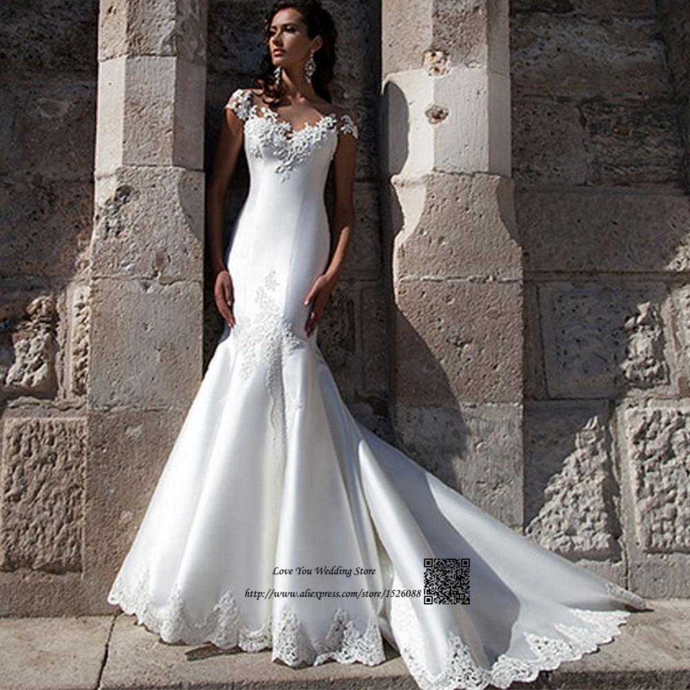 African Civil Wedding Dress Mermaid Vestido De Noiva Sereia Cap - Civil Wedding Dresses