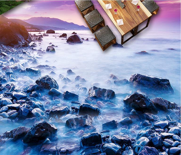custom d pvc suelos de seaside piedra piso d murales de papel tapiz impermeable para bao